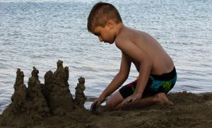 Boy Beach Child Sand Castle Summer Kid Playing