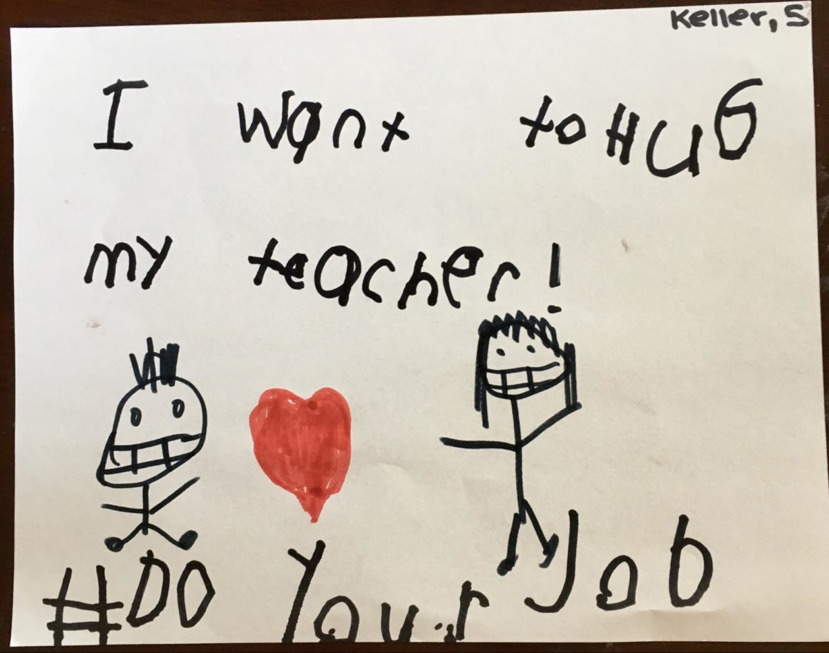 "Kids drawing that says ""I want to help my teacher!"" #DoYourJob"